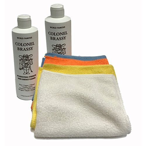 2-pack Colonel Brassy metal chrome aluminum plastic cleaner with 4-pack microfiber polishing towel/cloth
