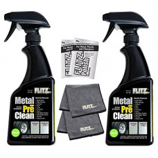Flitz (2-pack) Metal Preclean Aluminum, Chrome, Stainless Steel AL 01706-3A WITH (2-pack) Flitz Microfiber cloth AND 2 mini Paste Polish