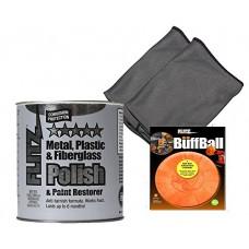 Flitz CA 03518-6 Blue Metal, Plastic, Fiberglass Polish Paste, 2.0 lbs Quart Can with Flitz PB101 Orange Large Buff Ball 5-Inch and 2 microfiber cleaning cloth