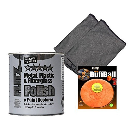 Flitz CA 03518-6 Blue Metal, Plastic, Fiberglass Polish Paste, 2.0 lbs Quart Can with Flitz PB101 Orange Large Buff Ball 5-Inch and 2 microfiber cleaning cloth