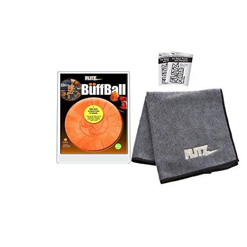 Flitz PB101 Orange Large 5-inch Buff Ball with 2-pack Microfiber Cleaning Cloth/Towel (2 mini-packs polish)COMBO