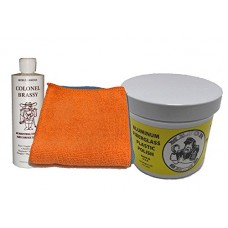 Major Shine Aluminum, Fiberglass, Plastic Polish WITH Colonel Brassy Hard Surface Cleaner AND Two Microfiber Cleaning Cloth COMBO